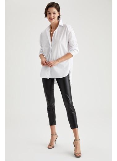 DeFacto Basic Oversize Uzun Kollu Gömlek Beyaz